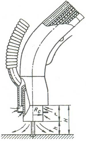Принципиальная схема горелки для механизированной газосварки в углекислом газе со встроенным отсосом
